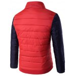 cheap Snap Button Zip Up Stand Collar Two Tone Quilted Jacket