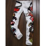 cheap Zipper Fly Figure Embroidered Appliques Jeans