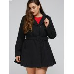 cheap Plus Size Lapel Fit and Flare Coat