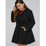Plus Size Lapel Fit and Flare Coat for sale
