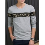 cheap Crew Neck Camouflage Splicing Long Sleeve T-Shirt