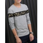 Crew Neck Camouflage Splicing Long Sleeve T-Shirt deal