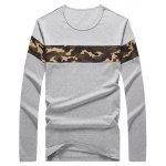 Crew Neck Camouflage Splicing Long Sleeve T-Shirt for sale