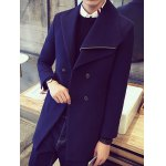 Double-Breasted Asymmetric Lapel Button Wool Coat
