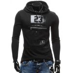 cheap Zippered Slit Back Drawstring Graphic Hoodie