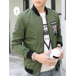cheap Zip-Up Graphic Patch Bomber Jacket