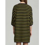 Letter Print Striped Asymmetric Knitted Dress deal