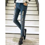cheap Zigzag Stitch Scratched Zipper Fly Patched Ripped Jeans