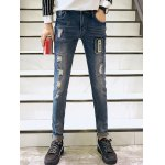 Zigzag Stitch Scratched Zipper Fly Patched Ripped Jeans