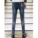 Zigzag Stitch Scratched Zipper Fly Patched Ripped Jeans deal