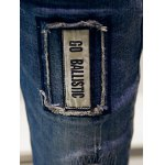 Zigzag Stitch Scratched Zipper Fly Patched Ripped Jeans photo