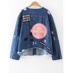 cheap Patched Ripped Denim Jacket
