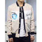 Letter Print Buttoned Stand Collar Jacket