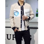 cheap Letter Print Buttoned Stand Collar Jacket