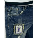 Frayed Patch Design Scratched Zipper Fly Tapered Jeans for sale