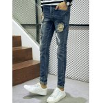 cheap Frayed Patch Design Scratched Zipper Fly Tapered Jeans