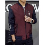 cheap Stand Collar Zipped Printed Jacket