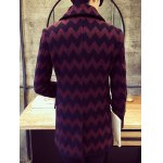 Turn-Down Collar Double-Breasted Geometric Wave Wool Coat deal