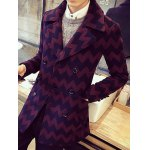 cheap Turn-Down Collar Double-Breasted Geometric Wave Wool Coat