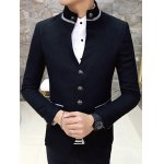Slim-Fit Stand Collar Single Breasted Blazer