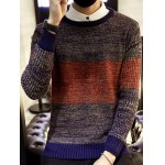 cheap Round Neck Color Block Ribbed Knitted Sweater