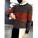 Round Neck Color Block Ribbed Knitted Sweater deal