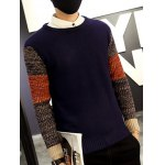 Ribbed Knitted Round Neck Color Block Sweater deal
