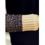 best Ribbed Knitted Round Neck Color Block Sweater