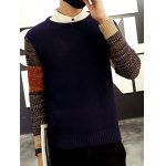 cheap Ribbed Knitted Round Neck Color Block Sweater