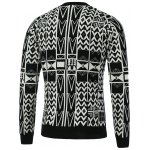 cheap Geometric Pattern V-Neck Single-Breasted Cardigan