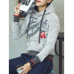 cheap Pocket Appliqued Letter Printed Pullover Hoodie