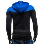 Color Block Splicing Design Hooded Long Sleeve Zip-Up Hoodie deal