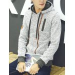 cheap Zip Embellished Pullover Applique Hoodie