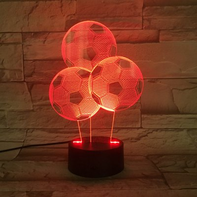 Colorful 3D Visual Stereo Three Football LED Bedroom Night Light