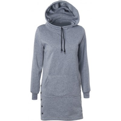 Drawstring Side-Buttoned Hoodie
