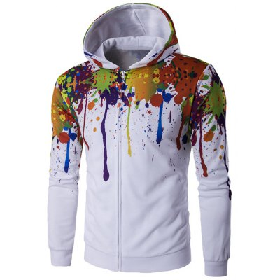 Paint Splatter Zip-Up Hoodie
