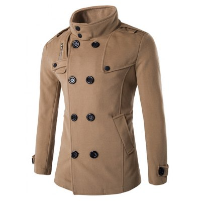 Zippered Button Tab Cuff Pea Coat