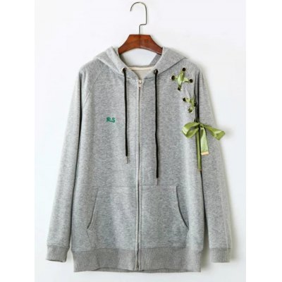 Front Pocket Ribbon Lace Up Zipper Hoodie