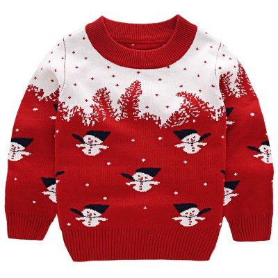 Snowman Printed Pullover Knitted Sweater