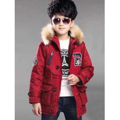 Zipped Applique Faux Fur Parka Quilted Padded Coat