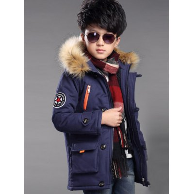 Zipped Applique Faux Fur Padded Quilted Parka Coat