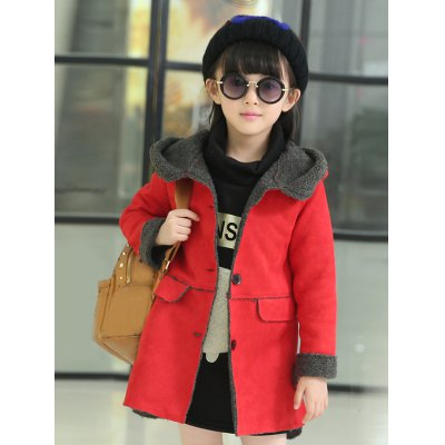 Kids Hooded Long Suede Jacket