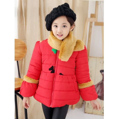 Butterfly Embroidered Bowknot Padded Jacket