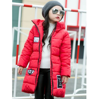 Girls Hooded Letter Print Long Padded Coat