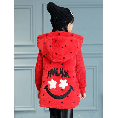 Girls Hooded Polka Dot Fur Spliced Long Coat