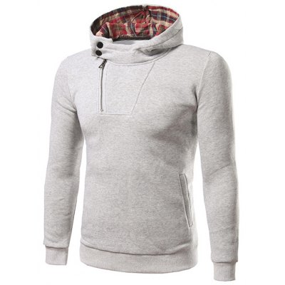 Plaid Lined Side Zip Up Pullover Hoodie