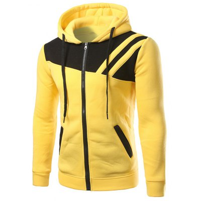 Contrast Paneled Zippered Two Tone Hoodie