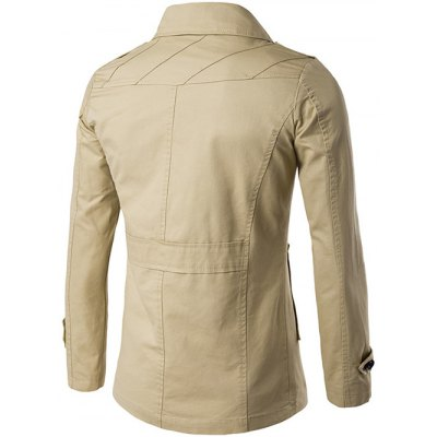 Single Breasted Line Pattern Epaulet CoatMens Jackets &amp; Coats<br>Single Breasted Line Pattern Epaulet Coat<br><br>Clothes Type: Jackets<br>Style: Casual<br>Material: Cotton,Polyester<br>Collar: Turn-down Collar<br>Clothing Length: Regular<br>Sleeve Length: Long Sleeves<br>Season: Fall,Winter<br>Weight: 0.730kg<br>Package Contents: 1 x Coat