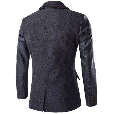Zip-Up PU Spliced Faux Twinset CoatMens Jackets &amp; Coats<br>Zip-Up PU Spliced Faux Twinset Coat<br><br>Clothes Type: Jackets<br>Style: Casual,Fashion<br>Material: Cotton Blends,Wool<br>Collar: Turn-down Collar<br>Clothing Length: Regular<br>Sleeve Length: Long Sleeves<br>Season: Winter<br>Weight: 1.080kg<br>Package Contents: 1 x Coat