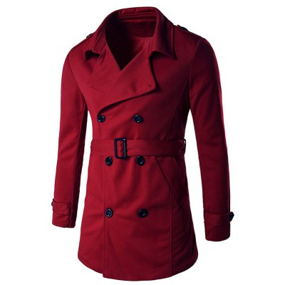 Epaulet Design Belted Trench Coat